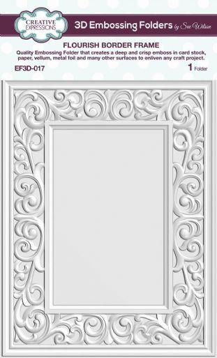 CE Embossing Folder 3D 5 3/4 x 7 1/2 Flourish Border Frame